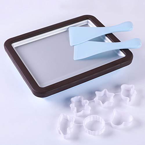 GYAM Mini máquina de sartén de Yogur congelado portátil, Helado, Helado con Pala de Helado para niños DIY en casa,Marrón