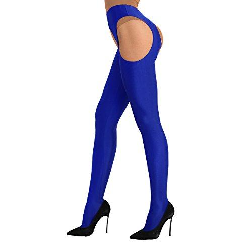 Alvivi Damen Ouvert-Strumpfhosen Stretch Ouvert-Legging Dessous-Pants Lange Hose Frau Strümpfhose Slim Smooth Hose Gr. S-XL (X-Large, Blau)