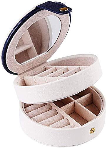 Reissieradendoos, waterdicht PU-lederen sieradenetui, 3 lagen met spiegel voor oorbellen, ketting, sieraden, ringen, armbanden, organizer, ronde sieraden, opbergdoos, klein formaat wit