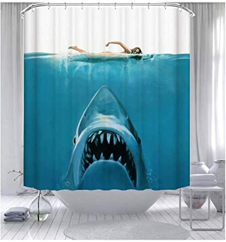 Dimmo Ozean-Themen Hai Wal Dusche Vorhang wasserdichtes Bad dekoriert Duschvorhang einfach stilvoll mit 12 Haken 71 x 71 Zoll (180cm x 180cm).