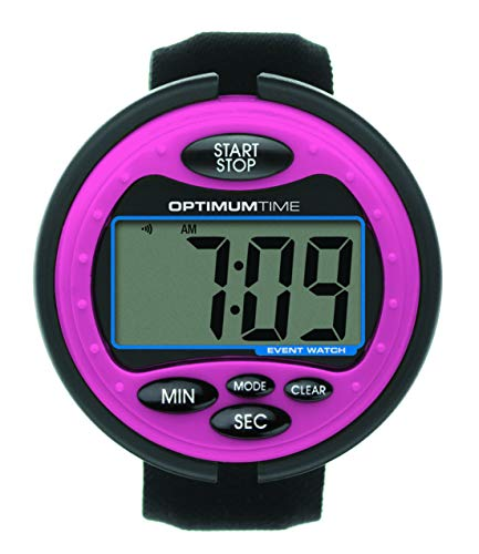 Optimum Time Event Watch - Pink - An Easy To Use Eventing Watch - Large Clear Display Screen - Perfect For British Eventing Competitions - Counts Up & Down - Alarm by William Hunter Equestrian