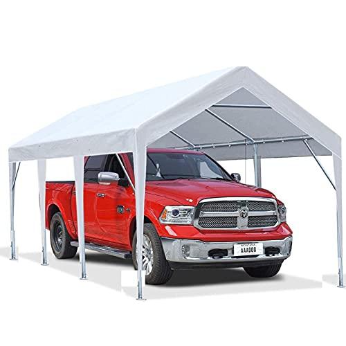 Gmjay 10 X 20 Pies Carport Car Canopy Carpa de Garaje Portátil Refugio para Barcos con Vigas Triangulares Reforzadas,White