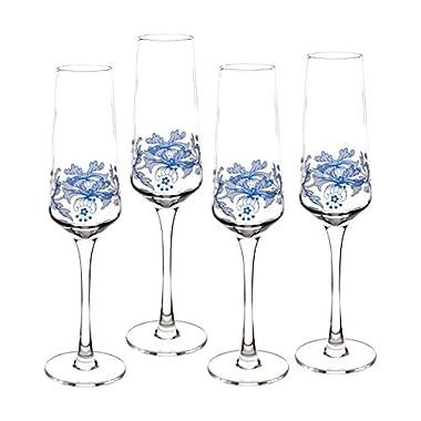 Spode Blue Italian Glassware Champagne Flutes, S/4