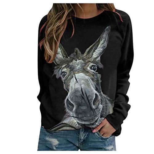 Viewk - Sudadera con capucha para mujer, diseño de animal, cuello redondo Beige Negro ( L