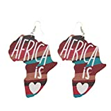 12 Pairs Africa Mainland Map Wood Drop Earrings Afro Prints County Flags Eco Giraffe Pattern Gifts for Women