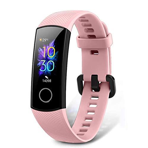 HONOR Band 5 Fitness Armband mit Pulsmesser, Wasserdicht IP68 Pulsuhren Fitness Tracker Aktivitätstracker Schrittzähler Uhr Herren- und Damensmartwatch Anruf Nachrichten beachten Rosa