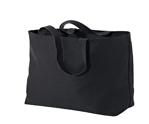 Oversized Twill Cotton Tote Bag for Shopping (1, Black)