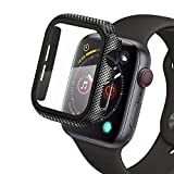 Para Apple Watch 44mm Serie 6/Serie SE/Serie 5/Serie 4 Funda + Cristal Templado, Qianyou PC Case y vidrio protector de pantalla integrados, Slim Cover de Bumper y Protector Pantalla (Fibra de Carbon)