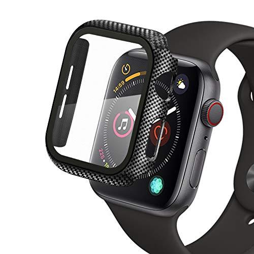Compatibile con Apple Watch 44mm Series 5/4/6/SE Custodia+Protezione Schermo, Qianyou Case PC Protettiva in Vetro Temperato Integrata, Cover Pieno Paraurti e Screen Protector (Fibra di Carbonio)