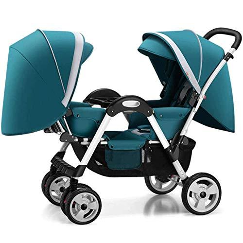 BrightFootBook Carro gemelar, Silla de Paseo gemelar Capacidad de Peso 15kg Encaja a través de la mayoría de Las Puertas - Capota Extensible con UPF 50+ para Gemelos Y Hermanos,Blue