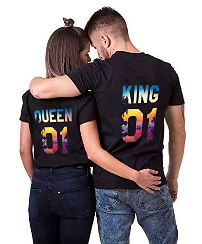 King Queen Pärche Shirts Set für Paar Partner Look T-Shirt Velentienstag Geschenk Tops Paare Baumwolle mit Aufdruck 1 Stücke (M,Schwarz-Twilight-Queen)