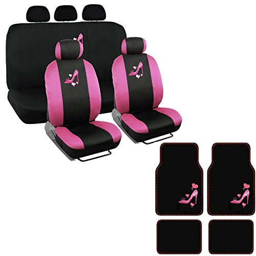 A set of 15 Piece Automotive Gift Set: 2 Lowback Seat Covers, 1 Bench Cover, 5 Headrests, 4 Floor Mats - Pink High Heel