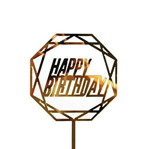 HEHELEBANG - Topper per torta di compleanno, in acrilico, con scritta in lingua inglese 'Happy Birthday', per decorazioni per feste, matrimoni, come foto, Francia