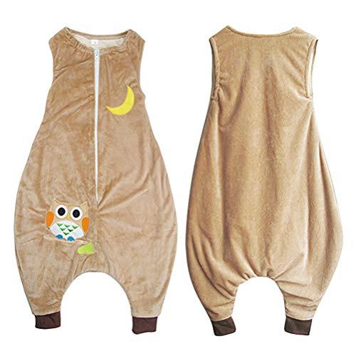 Hihey all-season slaapzak voor baby's praktische slaapzak met voeten, baby slaaptrampler zonder mouwen voor kleine kinderen meisjes jongens unisex S(1-3) uil