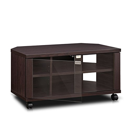 """Furinno Indo TV Stand with Double Glass Doors and Casters, 2 x 2"""", Espresso"""