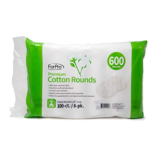 ForPro Premium Cotton Rounds, 100% Cotton, Non-Tearing, Lint-Free, for Cosmetic, Nail, and Personal Use, 2.25, 600-Count (Pack of 6-100 Cotton Rounds)