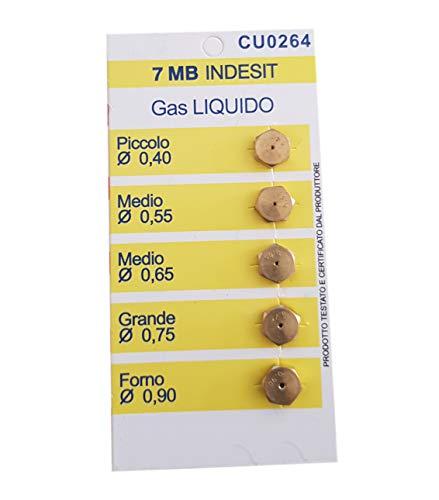 Ersatzdüsen für Gasherde, 5 Düsen, kompatibel mit Indesit (7 MB, Flüssiggas LPG)