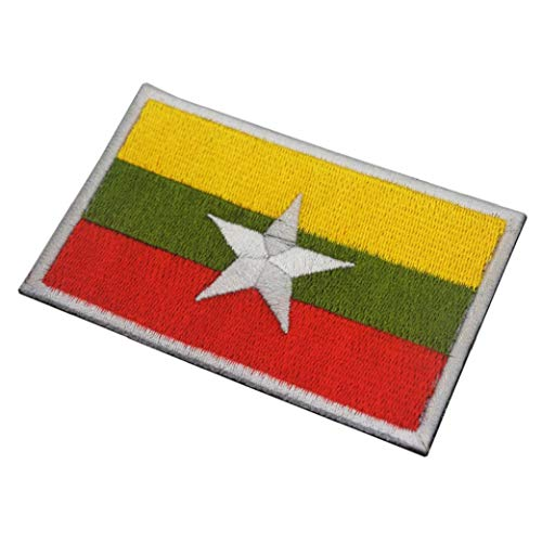 Myanmar-Flagge Moral Abzeichen Stickerei-Armband Aufkleber Aufnäher Für Caps Rucksack Jacke Militäruniformen 1pc