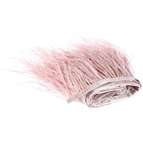 rosenice 2M Feder fransen Band Straußenfedern Feder für Bekleidung DIY Nähen Handwerk (Rosa)