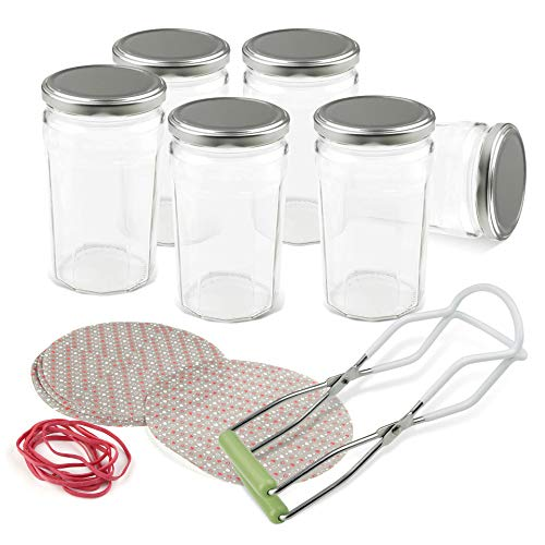 Dr. Oetker Einmachgläser mit Deckel 645 ml und Deckchen, Vorratsglas mit Schraubverschluss, Glasheber für luftdichte Marmeladengläser, Einweckglas (Farbe: Transparent/Silber), Menge: 1 x 8er Set