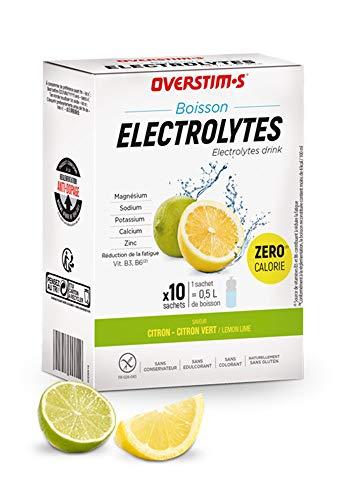 OVERSTIM.s – Boisson Electrolytes (10 sachets) - Citron/ Citron Vert – Boisson zéro calorie pour le sport – Electrolytes (sodium, calcium, magnésium et potassium) - Vitamines (B1, B2, B3, B6 et C)