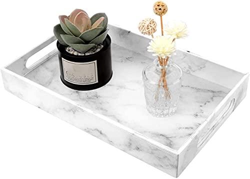 Recet Bandeja para joyas, bandeja de resina, bandeja cosmética con gran capacidad para guardar joyas (piel sintética), color blanco