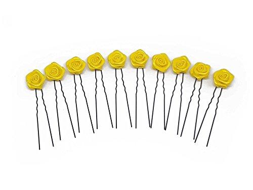 10 x Rosen auf Haarnadel - für flache Haarpartien - Brauthaarschmuck | S-F - Gelb