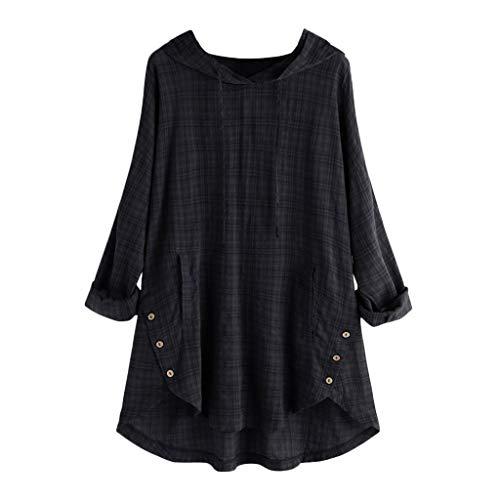 QIMANZI Übergröße Damen Lange Ärmel Kaftan Ausgebeult Taste Bettwäsche aus BaumwolleTunika Bluse(A Schwarz,M)
