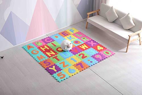 Avior Kids Kinder Puzzlematte Kinderteppich Spiel-Teppich Spielmatte 86 -TLG Buchstaben/Zahlen, Mehrfarbig
