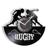 Jeu de Rugby Horloge Murale Contemporaine Rugby League Record de Compétition Montre Murale Rétro Vinyle Disque Artisanat pour Joueur et Fans 12 Pouces