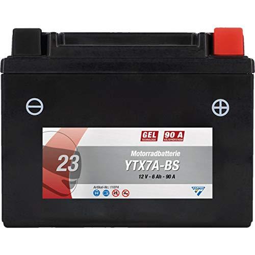 CARTEC Motorradbatterie YTX7A-BS, 6Ah, 150A, Gel Technologie Motorrad-Starter-Batterie, Erstausrüsterqualität, zyklenfest, lagerfähig, wartungsfrei