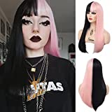 Sallcks Half Black Pink Wig Long Straight Cosplay Wigs with Bangs Synthetic Split Costume Halloween Wigs for Women