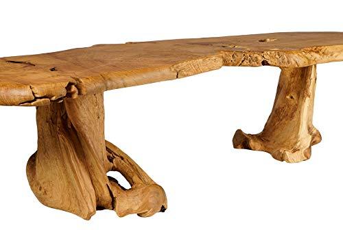 Windalf slanke XXL salontafel BELLRHODA B: 190 cm H: 49 cm lange tuinbank handgemaakt van wortelhout