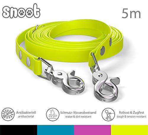 SNOOT Schleppleine 5m - Neon-Gelb - zugfeste, schmutz- und Wasserabweisende Hundeleine mit Zwei Karabinern