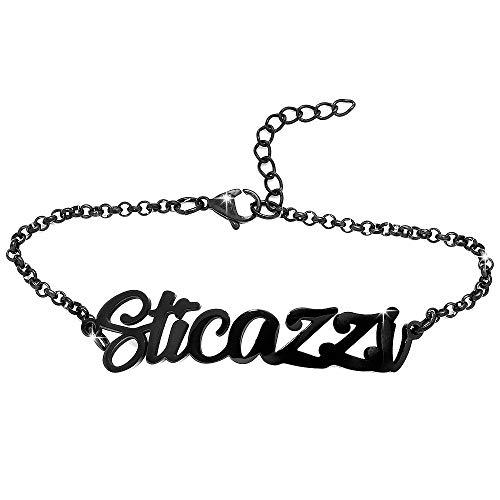Beloved  Pulsera para mujer Sentence – Pulsera de acero con frases, palabras – Colgante – Tamaño ajustable – Color negro