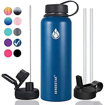 Sendestar 40 oz Double Wall Vacuum Insulated Leak Proof Stainless Steel Sports Water Bottle—Wide Mouth with Straw Lid & Flex Cap & Spout Lid (Cobalt)