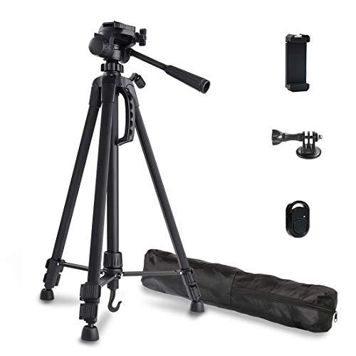 Phinistec 140cm Aluminium Dreibein Stativ Kamera für Handy, iPhone, DSLR, Kamera, Gopro mit Smartphone Halterung und Bluetooth Fernauslöser und Gopro Adapter mit Tragetasche (Matt Schwarz)