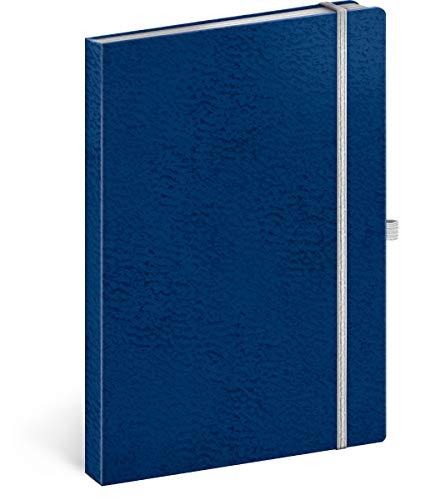 Notizbuch A5 Liniert, Notizblock Notizheft mit Gummiband, Business Notebook (Blau/Weiß)