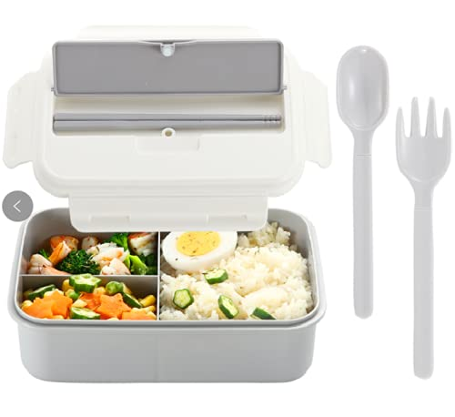 Lunch Box for Men Women Kids BPA Free Cute lunch box containers Bento Lunch Box Container Microwave Easy to Clean GrayWhite 3 Compartment