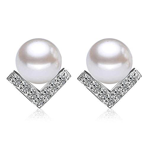 YFZCLYZAXET Pendientes Mujer Pendientes De Perla De Plata 925 para Mujer Párrafo Triangular Crystal Party Jewelry