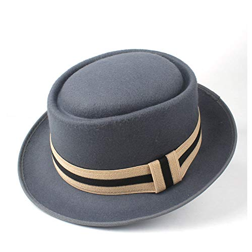 asx Sombrero de nueva era 2 tamaños para hombres y mujeres, sombrero de cerdo, sombrero para señora caballero al aire libre, sombrero de jazz plano de ala ancha (color: gris, tamaño: 60 cm)