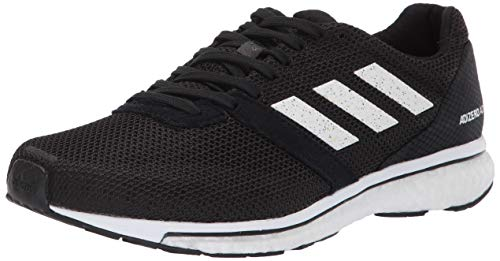 adidas Women's Adizero Adios 4 Running Shoe, black/white/black, 8.5 M US