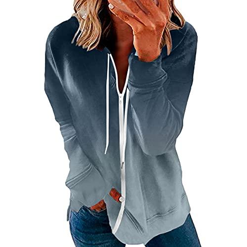 Sudadera para mujer de tamaño grande, con estampado de punto, manga larga, cremallera y cremallera, Azul-B., XXL