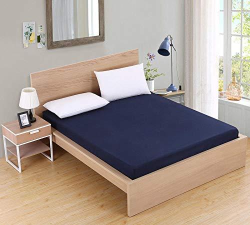 XGguo Protector de colchón/Cubre colchón Acolchado de Fibra antiácaros, Transpirable, Sábana de Cama cepillada Pure Color-Azul Marino_90X200cmX25