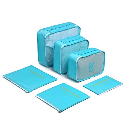 Kono Sistema di Cubo di Viaggio, Cubo Borse di stoccaggio, 6 pezzi Abbigliamento Intimo Abbigliamento Calzature Organizzatori Sacchi di Stoccaggio Set (Blu)