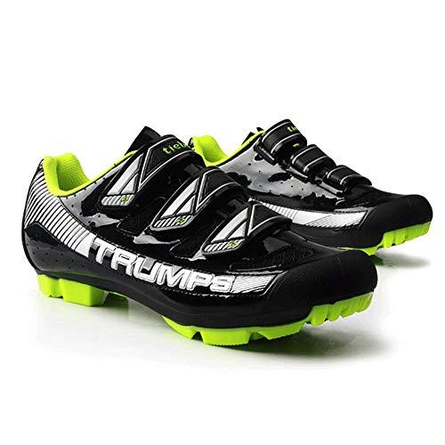 HaoLin Zapatillas De Ciclismo Originales Superstar con Cierre Automático Zapatillas De Deporte para Hombres Zapatillas De Montar para Mujer Bicicleta De Montaña MTB,Black-43