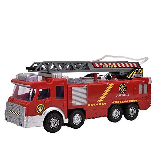 Zerodis Simulation Wasserstrahl Feuerwehrauto, elektrische Musik Sprühwasser Feuerwehrauto Modell Spielzeug für Kinder über 3 Jahre alt