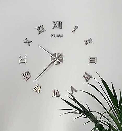 Reloj de Pared 3D DIY sin Marco Números Romanos Reloj Pared Tamaño Grande Silencioso acrílico Reloj Moderno Reloj de Etiqueta de Pared para Decorar La Estar Dormitorio Oficina o Casa (2 Plata, L)
