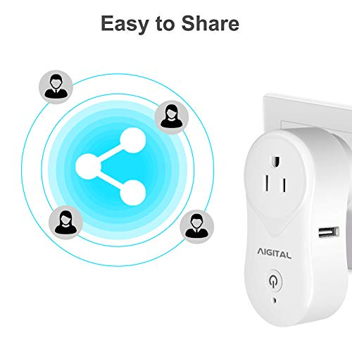Aigital Smart plug WiFi Outlet Mini Socket USB Fast Charging Port Compatible with Alexa, Google Assistant and IFTTT,Remote Control from Anywhere,Overload Protection and Timer Function,No Hub Required