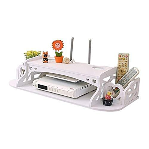 Qfeng wandmontage opknoping decoratie drijvende plank Wifi Router plank opslag witte plank woonkamer muur decoratieve beugel voor TV Box set-top box dvd-speler